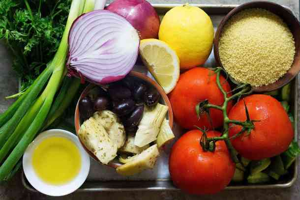 To make Mediterranean couscous salad you need couscous, onions, herbs, tomatoes, cucumbers, artichokes and olives.