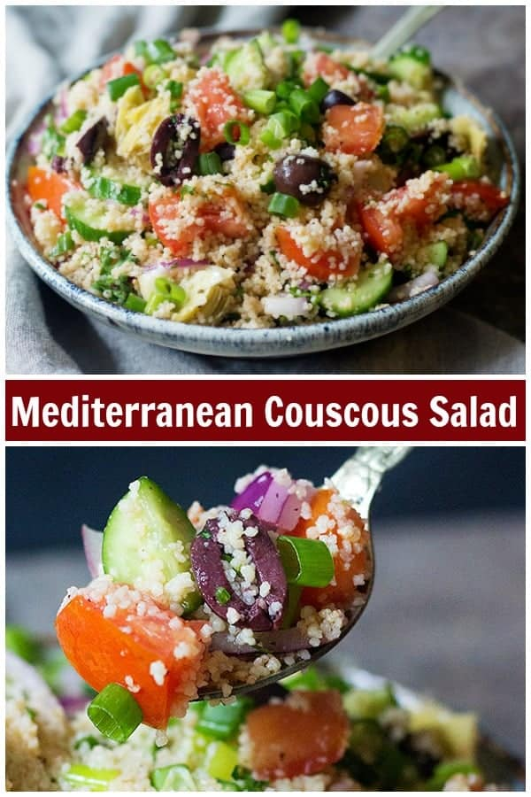 An easy couscous salad packed with Mediterranean flavors. This couscous salad recipe comes together in only 15 minutes and makes an amazing side dish. #mediterraneanrecipes #couscous #couscoussalad #healthysalad #healthyrecipes