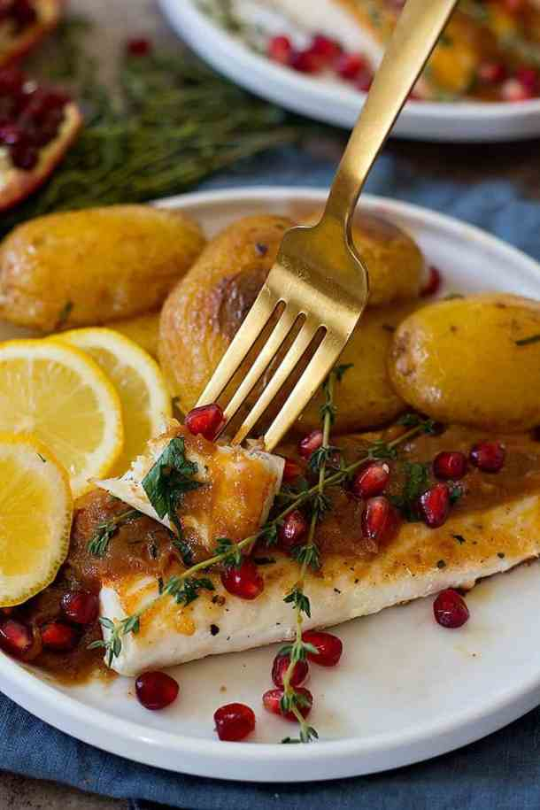 Since Alaska halibut fillets have a subtle flavor and are only seasoned with salt and pepper, they go very well with the sweet and sour tamarind sauce.