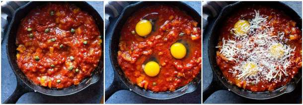 Add capers, eggs and shredded mozzarella cheese.