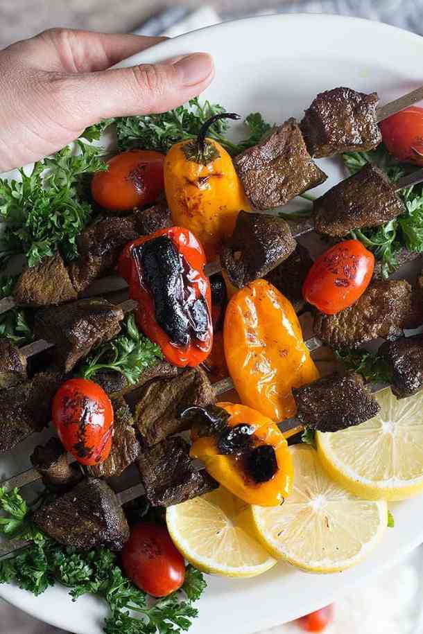 Beef shish kabob is best served right after cooking. However, you can store the leftovers in an airtight container and reheat on the stove or microwave for a short time.