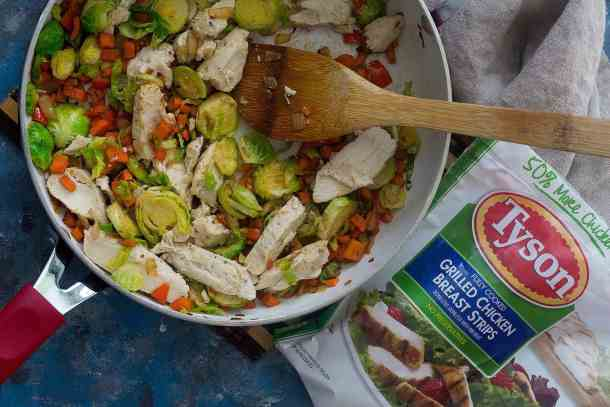 skillet chicken and veggies made with grilled chicken and brussels sprouts.