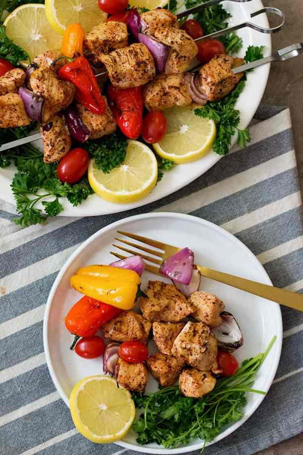 Easy chicken shish kabob recipe made on the grill or in the oven. This Mediterranean chicken kabobs are flavored with delicious spices and are quick to make.