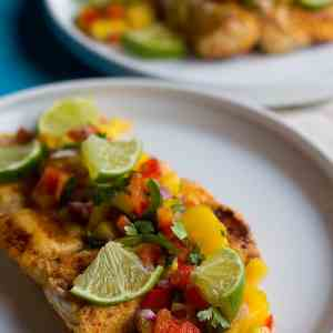 Grilled Halibut with Spicy Mango Salsa