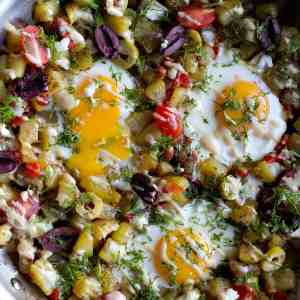 Mediterranean Breakfast Hash with Tahini Sauce
