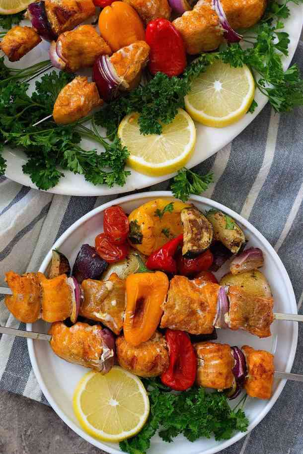 Grilled Salmon shish kabob with vegetables.