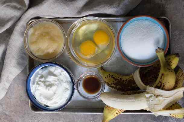 to make healthy banana bread you need applesauce, yogurt, eggs, sugar, bananas and flour.