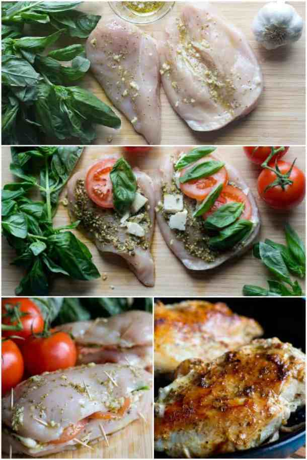 t make caprese stuffed chicken pound the chicken and cut in half rub olive oil and stuff with tomato basil and cheese then sear and cook.