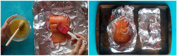 brush honey lemon sauce on the salmon and wrap the foil pack, leaving a slot open for the steam to get out.
