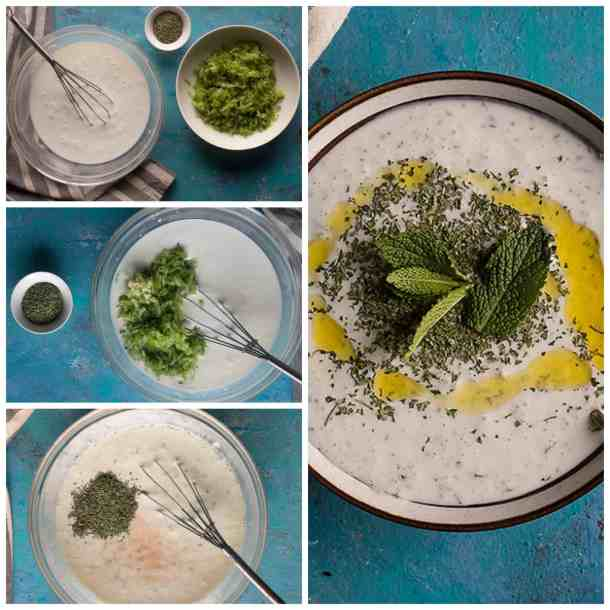 mix yogurt and water then add cucumbers and mint and salt and garlic. The cacik is ready.
