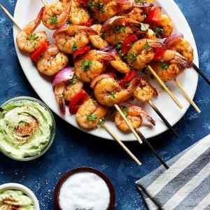 Shrimp Kabobs with Creamy Avocado Sauce