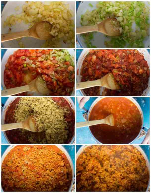 to make bulgur pilaf saute onion and garlic add peppers add tomato and tomato paste add washed bulgur and water then cook and fluff using a fork.