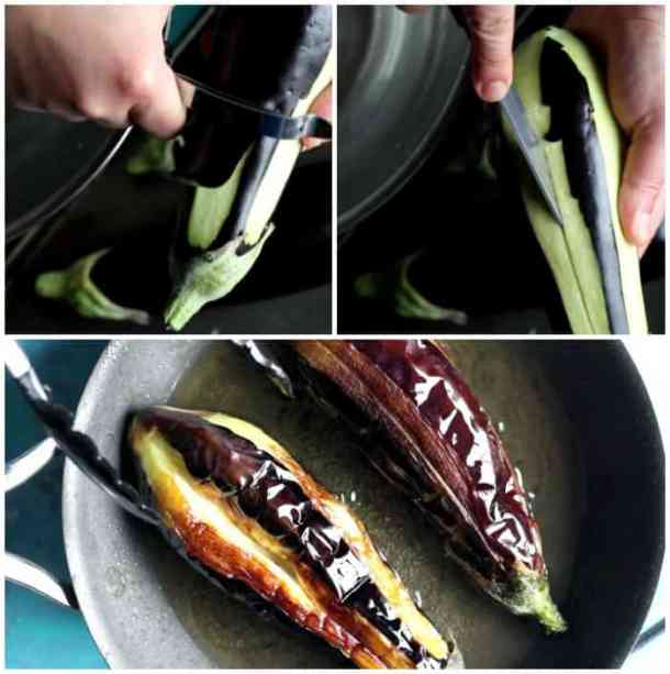 Peel the eggplants, cut a slit in them and fry in some oil in a pan until brown.