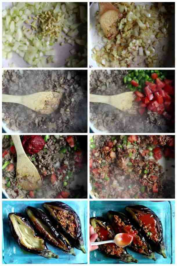 saute onion and garlic add ground beef and brown it. Add tomatoes and pepper then add tomato paste and spices. Fill the fried eggplants with the filling and bake in the oven.
