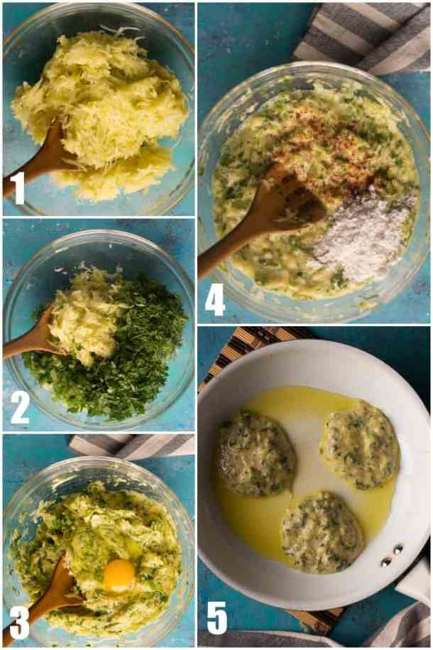 grate the zucchini, add all the herbs, add eggs, mix in the spices and flour then fry them.
