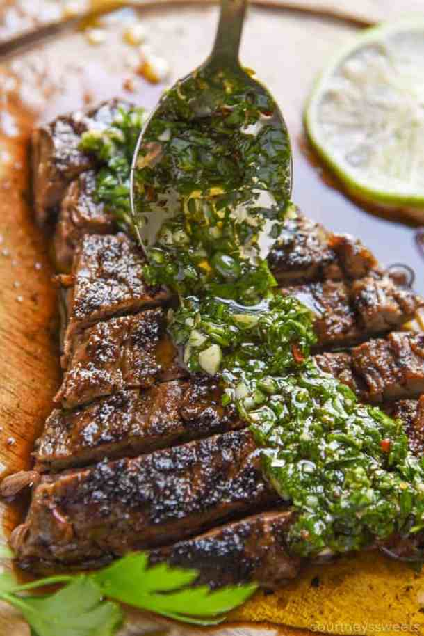 grilling recipes: grilled steak with homemade chimichurri sauce.