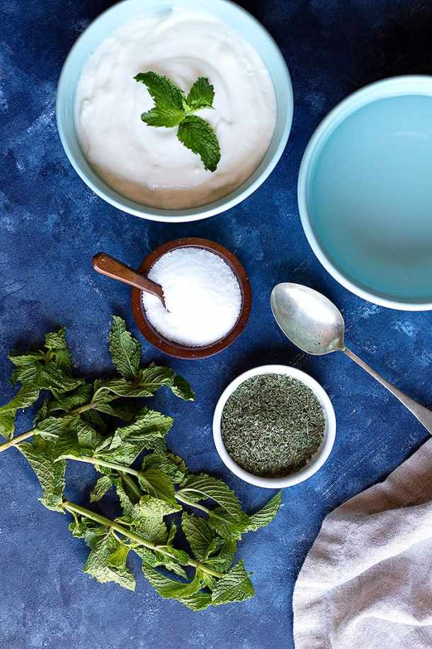 ingredients shot with yogurt, salt, water and dried mint.