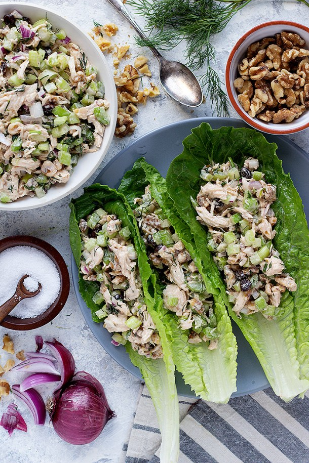 Try a healthy chicken salad that's perfect for a light and easy lunch. This healthy chicken salad is made with a delicious Greek yogurt dressing.