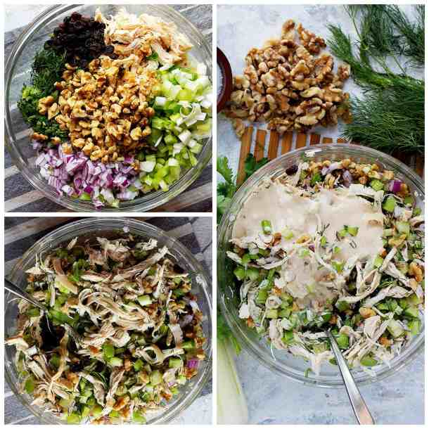 Mix chicken, walnuts, celery, raisin, dill and onion in a bowl and add the dressing.