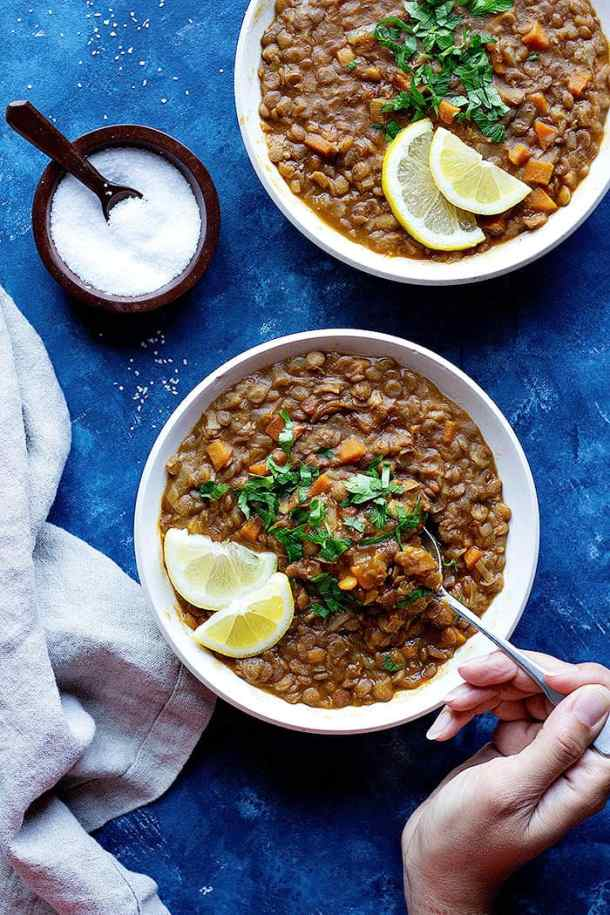 This easy instant pot lentil soup recipe is perfect for weeknight dinners. It's packed with tasty ingredients and is pretty much a hands-off lentil soup recipe.