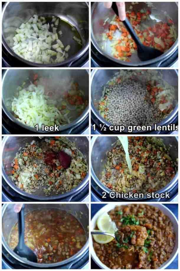 steps describing how to make veggie lentil soup.