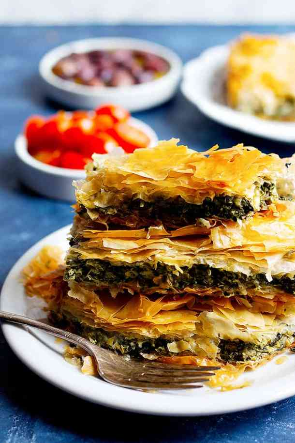 Layers of Greek spinach pie on top of each other.
