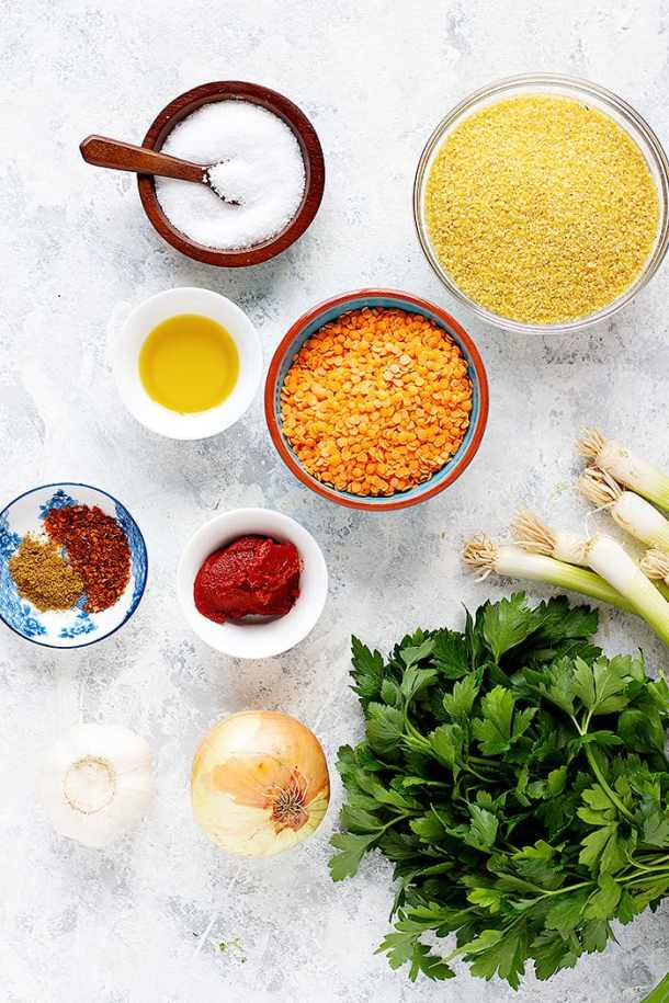 to make this lentil recipe you need bulgur, lentils, salt, spices, onion, garlic, tomato paste and olive oil