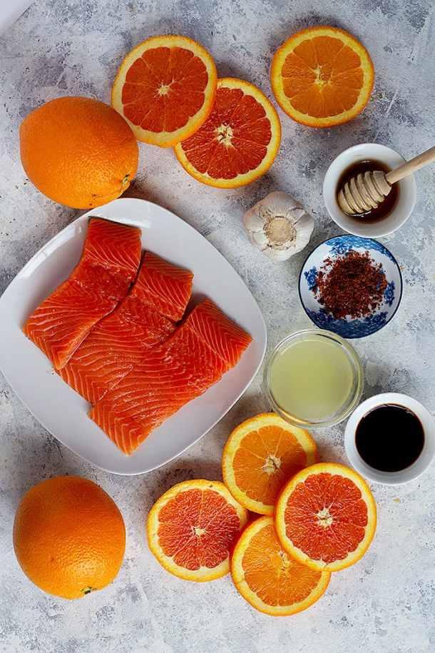to make this recipe you need salmon, lemon juice, orange juice, honey, garlic, soy sauce and pepper.