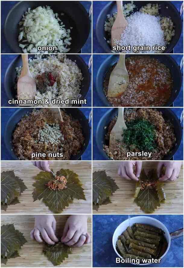 make the filling by cooking onions and rice with spices and tomato paste. Add pine nuts and parsley then roll the dolmas. Cook with vegetable oil and water.
