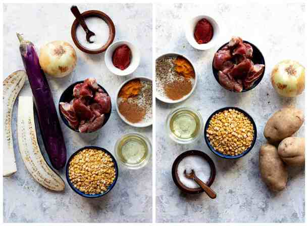 ingredients to make gheimeh recipe is eggplants, potatoes, lamb, salt, chana dal, spices and onion.