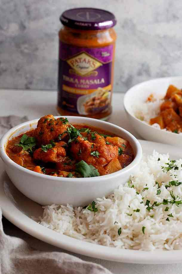 this vegetable tikka masala is made with patak's curry sauce.