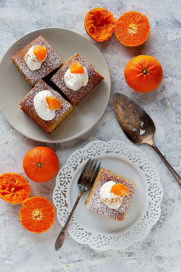 Serve this clementine spice cake with a dollop of whipped cream