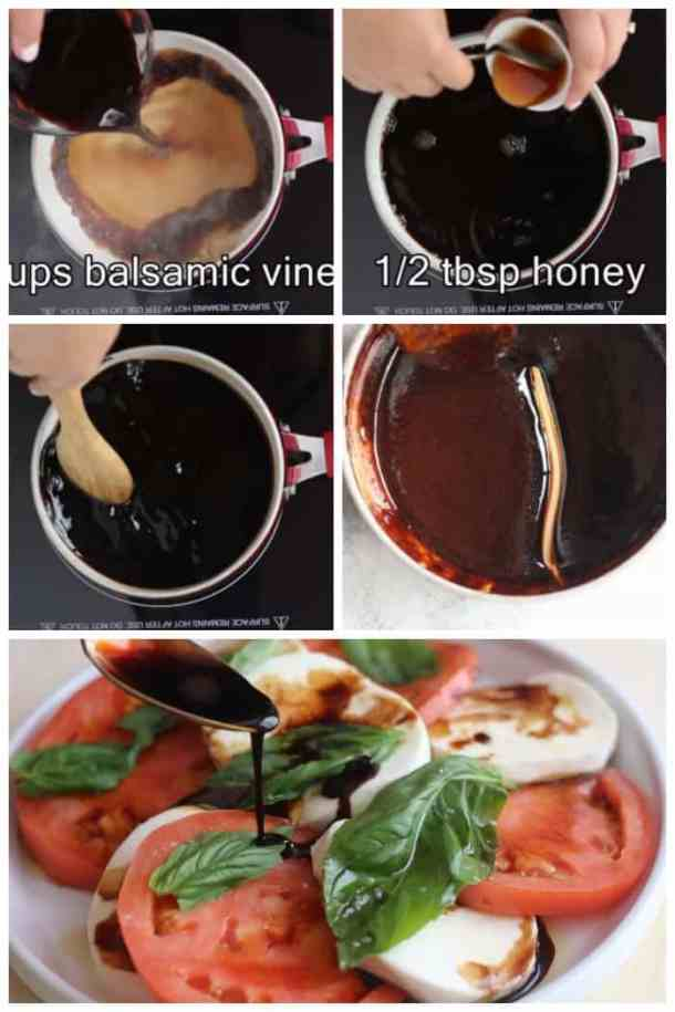 Add the balsamic vinegar to the sauce pan and add honey to it. Stir and simmer until thickened. Drizzle on caprese salad.