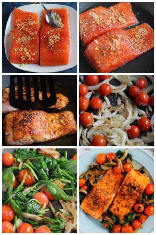 Step by step photos to make pan seared salmon. Brush the fillets with some olive oil and season with spices and garlic. Sear the salmon for 4 minutes in each side until opaque and cooked through. As a side dish, saute onions, tomatoes and spinach to serve with salmon.