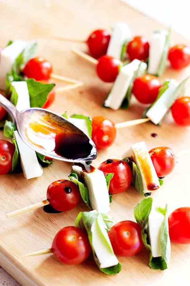 Drizzle with balsamic reduction for more flavor. You can use store bought or homemade balsamic glaze.