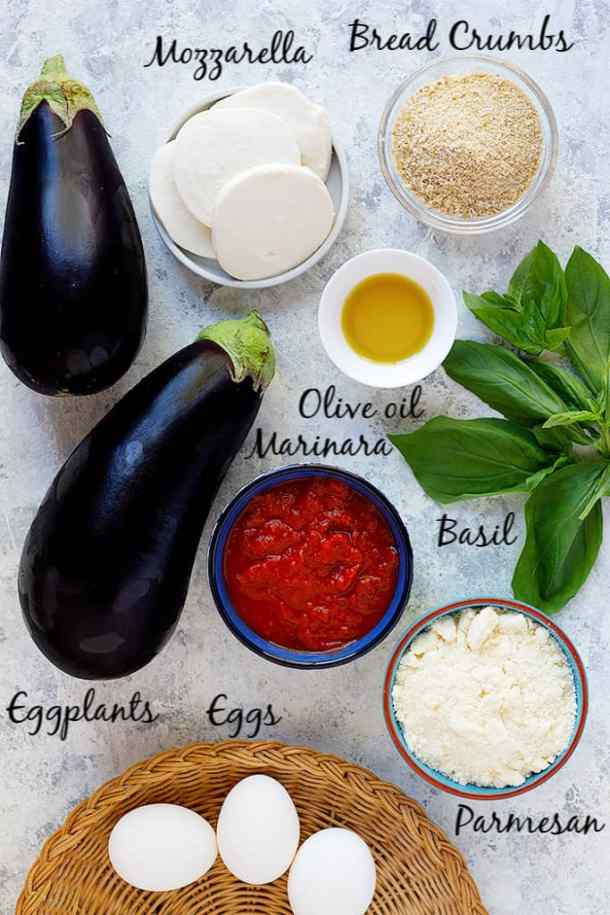 To make eggplant parmesan recipe, you need eggplant, breadcrumbs, eggs, olive oil, parmesan, mozzarella and marinara sauce.