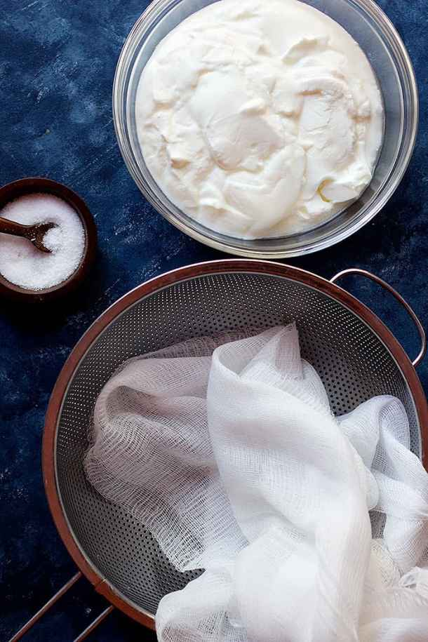 To make labneh you need yogurt, salt and cheesecloth.