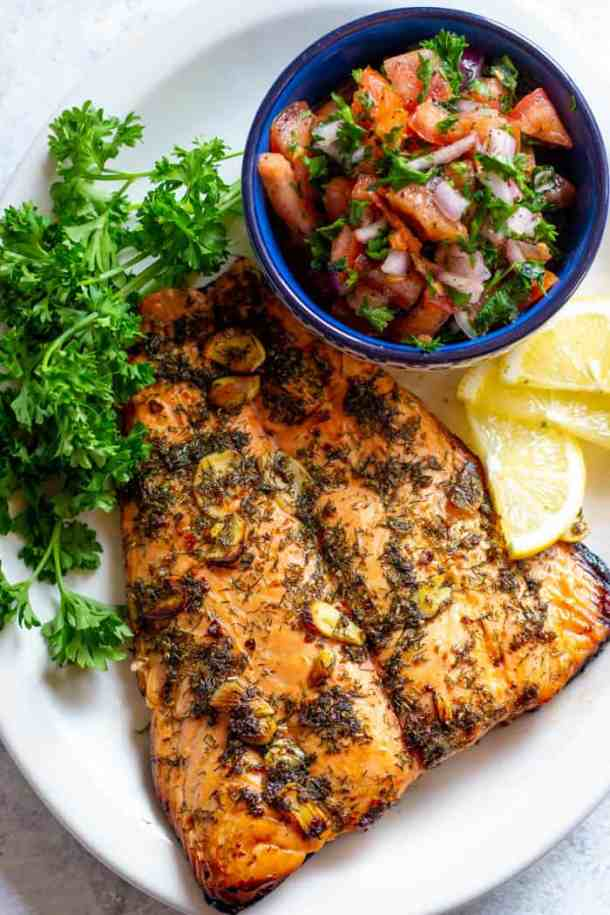 You can serve this marinated baked salmon with a quick tomato salad.