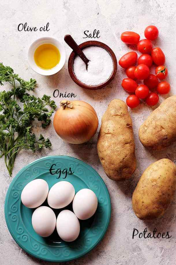 To make this simple dish, you need potatoes, onion, olive oil and eggs.