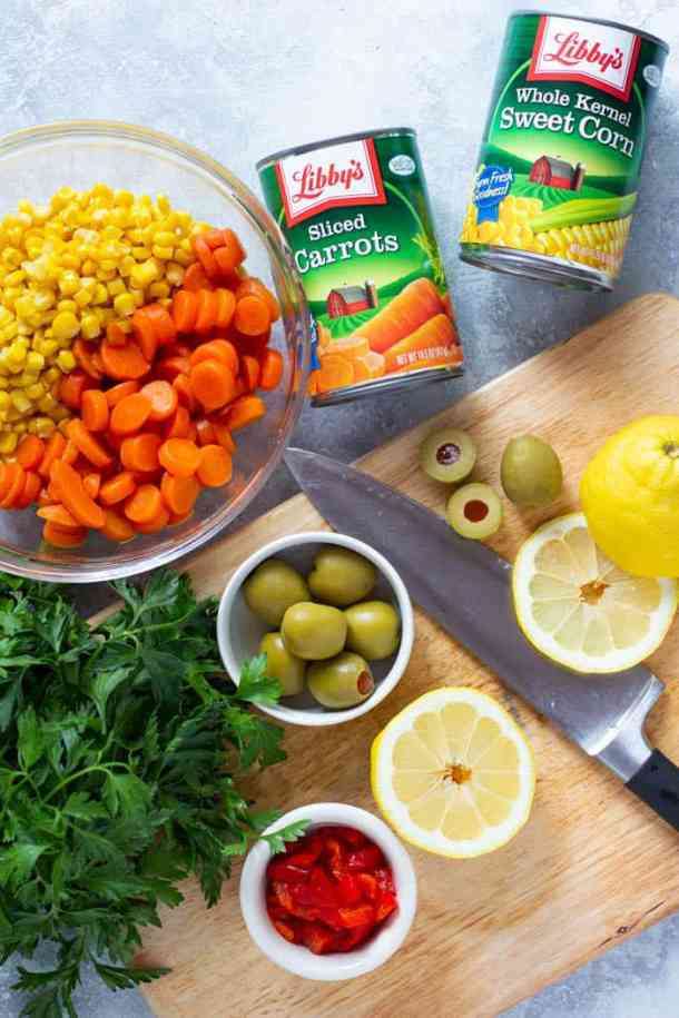 To make the salad, mix all the ingredients together and toss with the dressing.