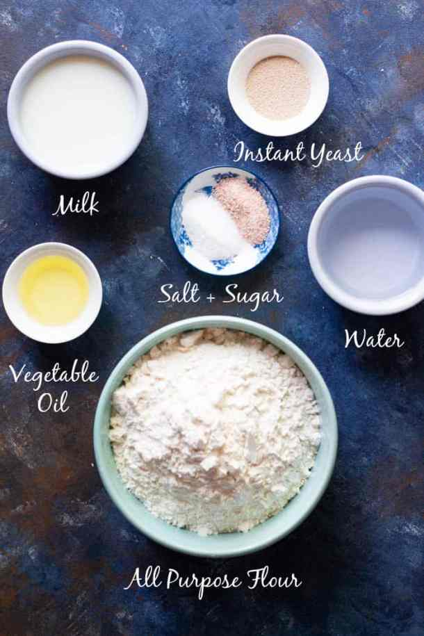 For lavash bread recipe we need water, milk, yeast, sugar, salt, vegetable oil and all purpose flour.