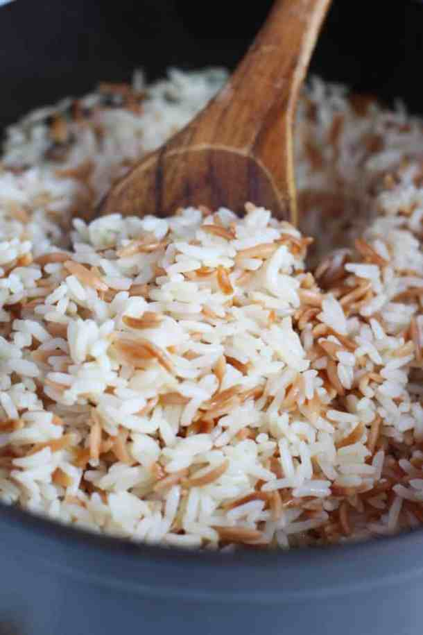 Let the rice sit for 15 minutes before fluffing and serving.