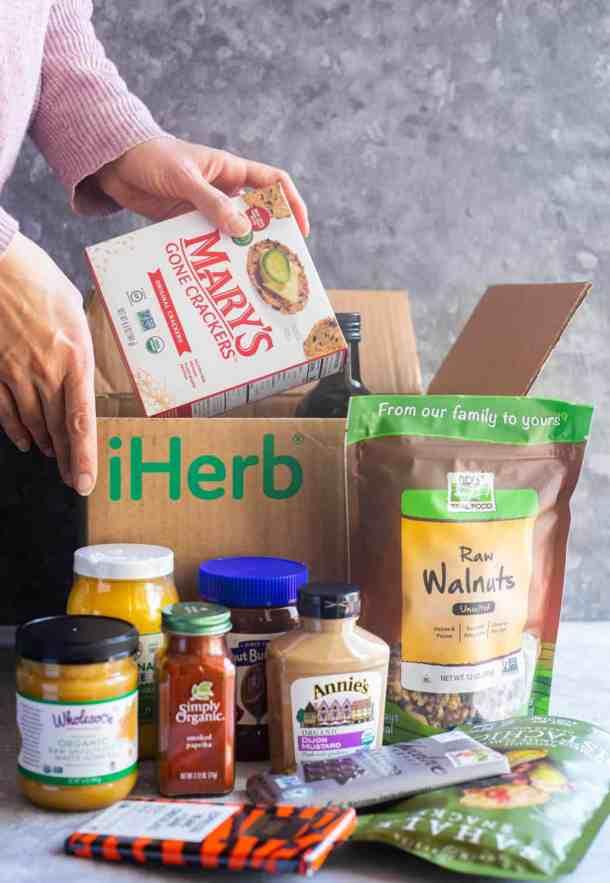 iHerb shopping haul including ghee, walnuts, crackers, etc.