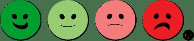 Happy Or Not HappyOrNot Smiley Buttons Buzzer Knöpfe knoepfe grün gruen hellgrün hellgruen hellrot rot