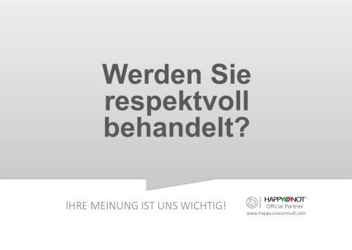 Werden Sie respektvoll behandelt Happy Or Not HappyOrNot Smiley Terminal Question Sheet Frageblatt