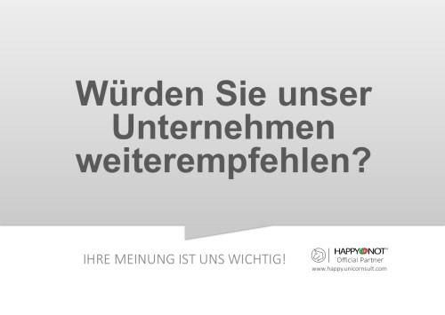 Wuerden Sie unser Unternehmen weiterempfehlen Happy Or Not HappyOrNot Smiley Terminal Question Sheet Frageblatt