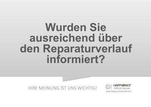 Wurden Sie ausreichend ueber den Reparaturverlauf informiert Happy Or Not HappyOrNot Smiley Terminal Question Sheet Frageblatt