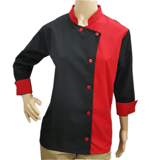 Bata-filipina-cheff-dos-colores-rojo-y-negro-frente