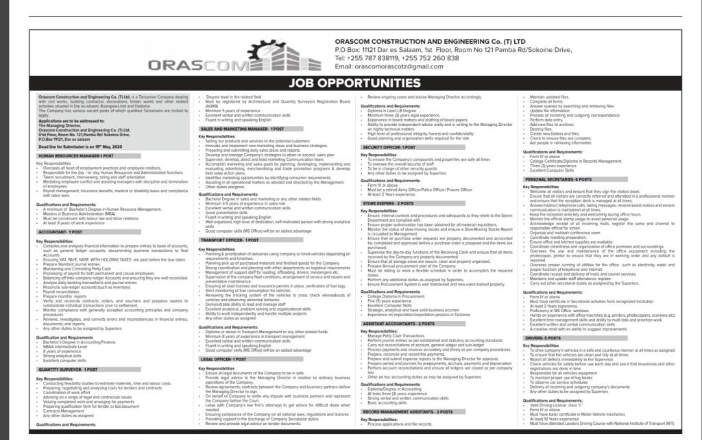 Job Vacancies At Orascom Construction and Engineering Company Tanzania