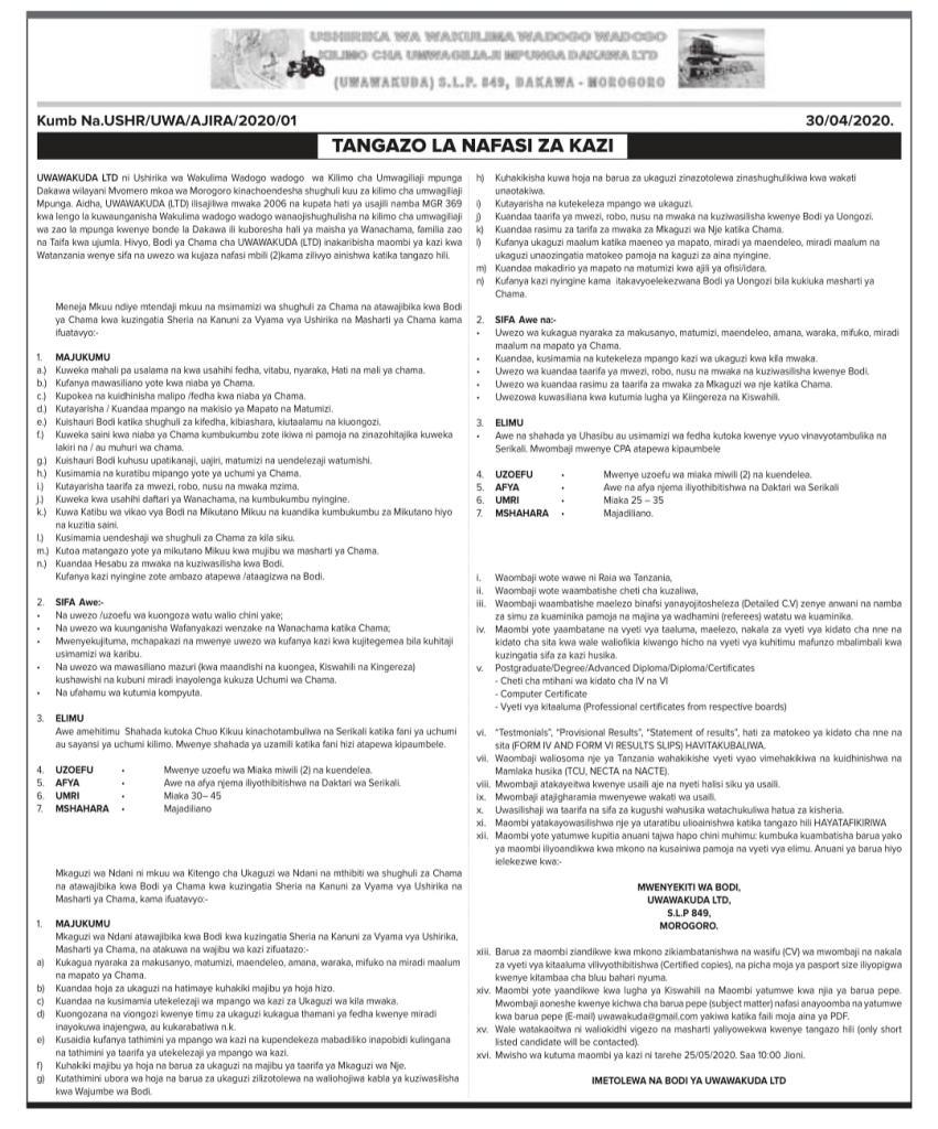New Job Vacancies UWAWAKUDA | May 2020